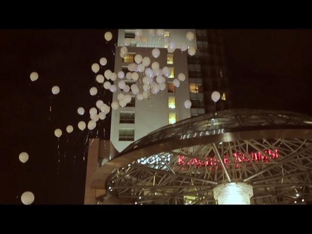 Запуск шаров со светодиодами у Swissotel
