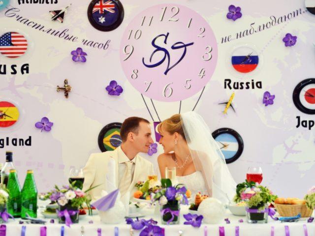 Тематический задник в декоре свадьбы