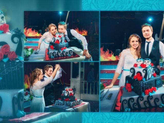 Свадебный торт на свадьбе в стиле глам рок
