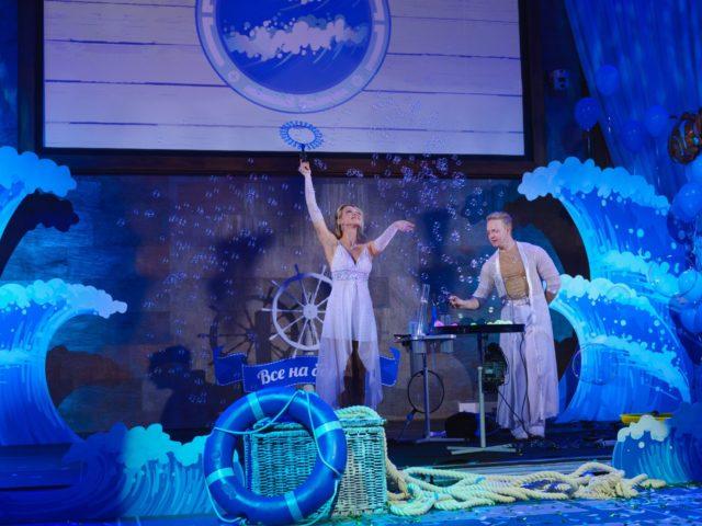 Выступление шоу мыльных пузырей