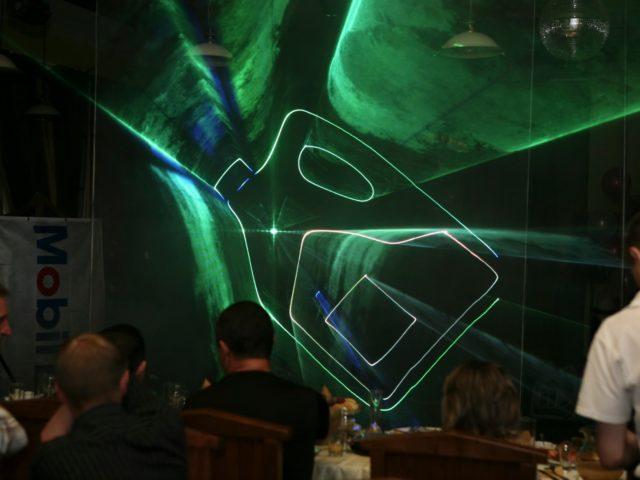 Лазерное шоу на вечеринке Exxon Mobil
