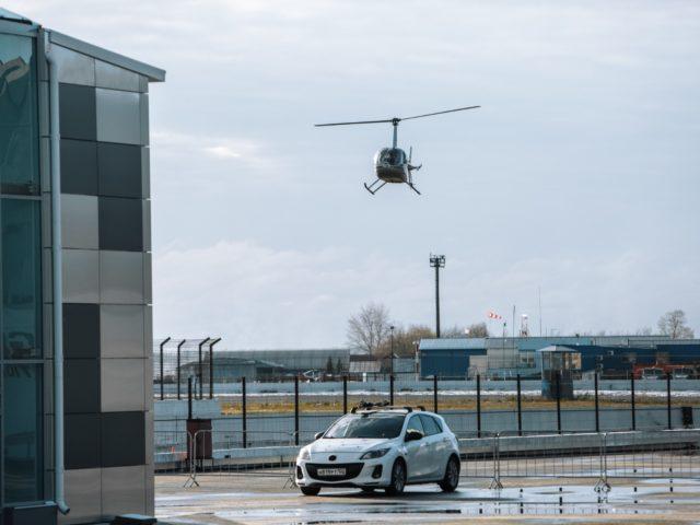 Прибытие вертолёта для катания гостей презентации