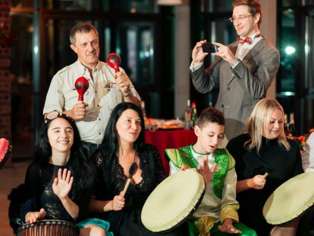 Проведение барабанного тимбилдинга на тематической свадьбе
